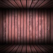 wooden structure made from old boards forming abstract interior backdrop poster
