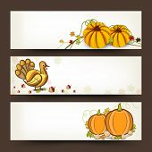 Happy Thanksgiving Day website header or banner set with pumpkin with turkey bird on autumn leaves decorated background.  poster