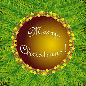 Vector Christmas circular template on the background of fir poster