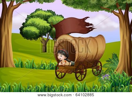 Illustration of a girl inside the wagon