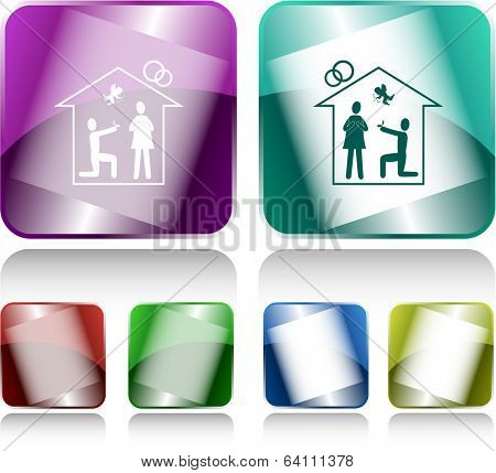 Home affiance. Internet buttons. Vector illustration.