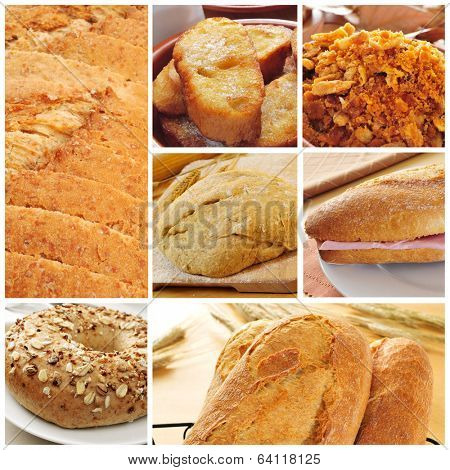 a collage of different bread products collage such as bread slices, french toasts, a bagel topped with seeds or a spanish submarine sandwich