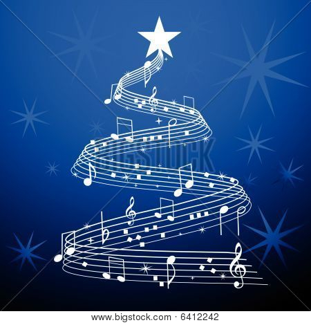 Musical Tree Christmas Over Blue