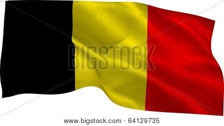 Digitally generated belgium national flag on white background poster