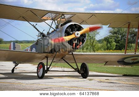 Vintage Airplane In Sunny Day