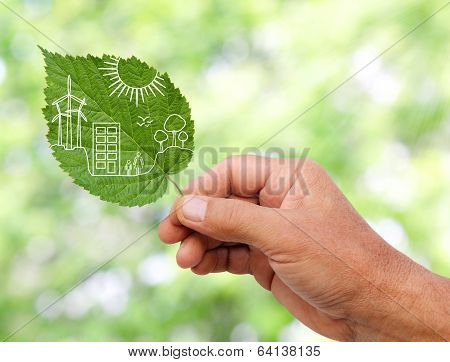 Hand Holding Green City Concept, Cut The Leaves Of Plants