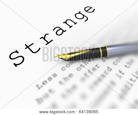 Strange Word Shows Unusual Odd Or Curious