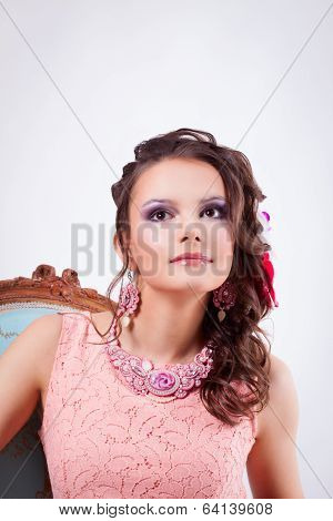 Woman With Ornaments In The Art Soutache And Bright Makeup Looking Up