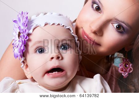 Six-month Daughter With Her Mother Surprised