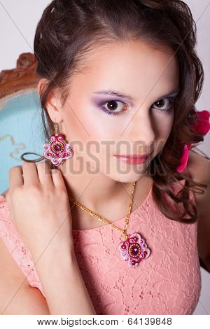 Portrait Of A Girl In The Spring Image With Purple Makeup
