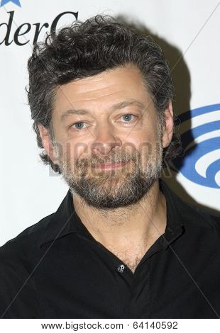 APRIL 19-ANAHEIM, CA: Andy Serkis arrives at the 2014 Annual Wondercon press room for