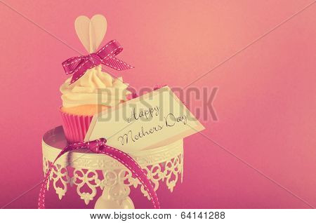 Vintage Style Happy Mothers Day Pink Heart Cupcake On White Cupcake Stand With Greeting Gift Tag Aga