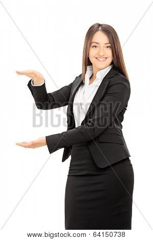 Businesswoman mimicking with hands isolated on white background
