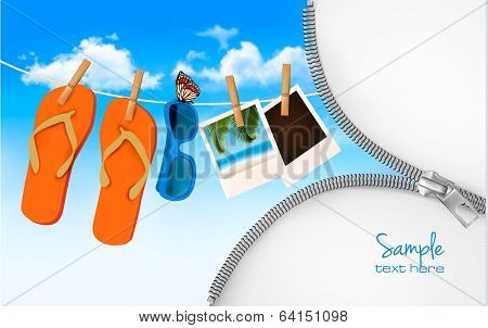 Flip flops, sunglasses and photo cards hanging on a rope. Summer memories background with a zipper. Vector.