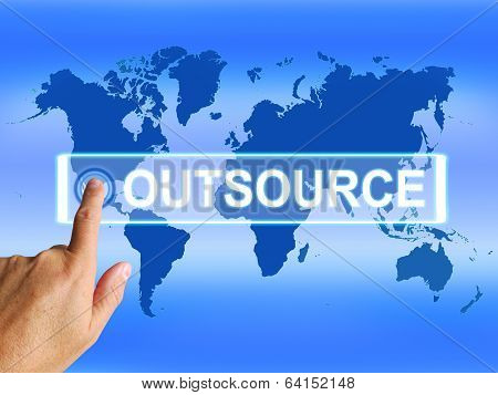 Outsource Map Means Worldwide Subcontracting Or Outsourcing