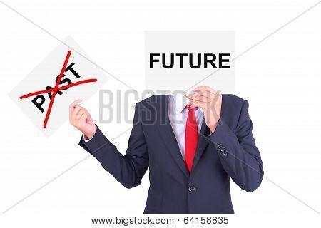 Businessman Swap Paper Showing Contrast Idea