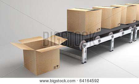 Conveyor Belt With Opend Carton