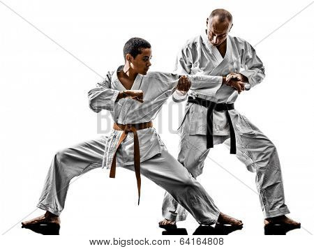 two karate men sensei and  teenager students teacher teaching isolated on white background