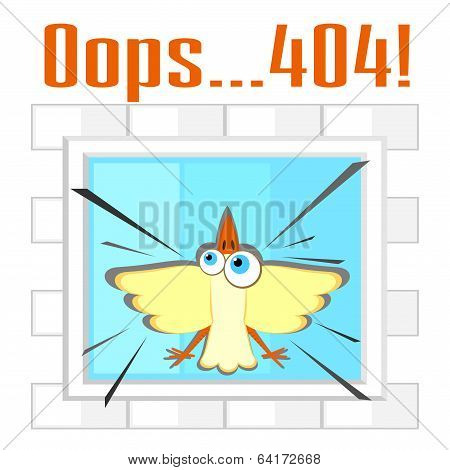 Error 404 Concept With Bird And Window