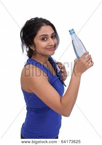 Female athlete with water bottle