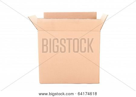 Open Corrugated Cardboard Box On White