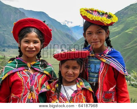 Children At Mirador Taray Near Pisac In Peru