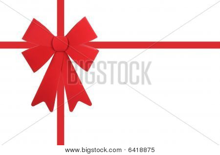 Red Bow And Ribbon Isolated On A White Background