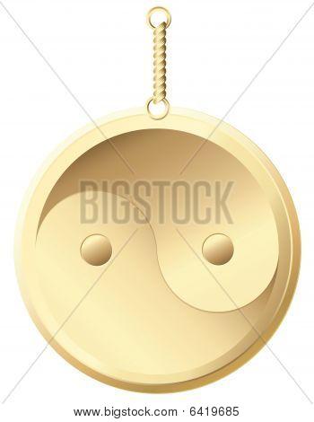 yin yang golden amulet