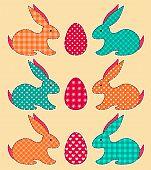 Set of application Easter rabbits. Vector cartoon illustration. poster