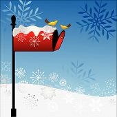 Red Mailbox With Birds Winter scene (snowflakes) poster