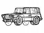 hand drawn sketch cartoon illustration of off-road car poster