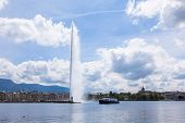 "The water fountain "" jet d'eau "" symbol of geneva switzerland poster"