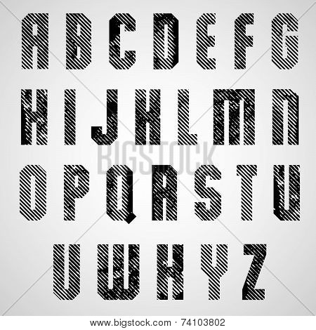 Grunge black rubbed capital letters, decorative striped font on white background.
