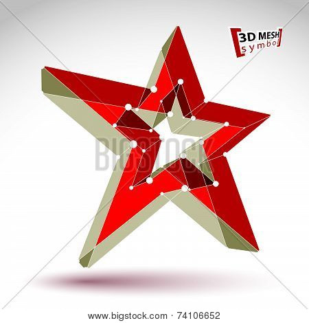 3d mesh soviet red star sign isolated on white background, colorful elegant lattice superstar icon,