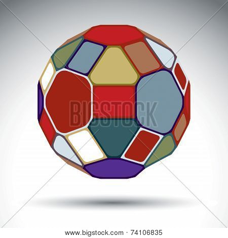 Abstract complicated 3d object with kaleidoscope effect. Bright sphere constructed from colorful geometric elements - rectangles triangles and pentagons. poster