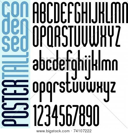 Poster black bold condensed tall font and numbers.