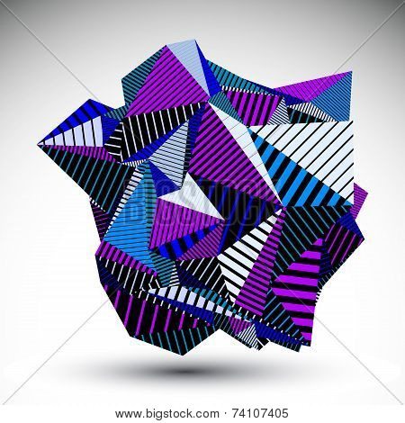 Decorative Complicated Unusual Eps8 Figure Constructed From Triangles With Parallel Black Lines.