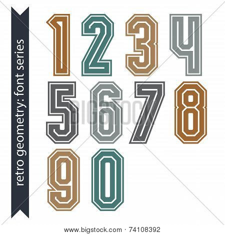 Colorful Regular Acute-angled Digits, Bright Poster Numbers With Outline Isolated On White
