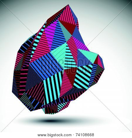 Multifaceted asymmetric contrast figure with parallel lines. Striped colorful abstract figure