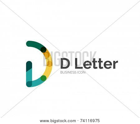 D letter logo, minimal line design, business icon poster