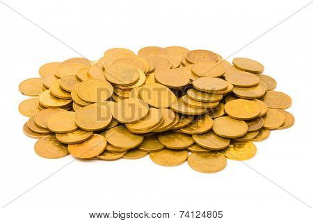 Heap of coins, isolated on white background