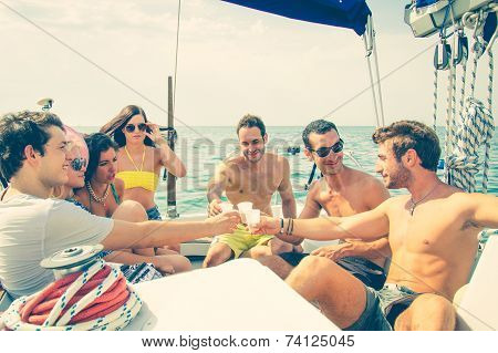 Friends Having Party On A Boat