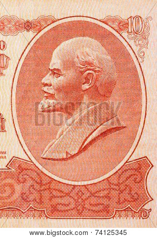 Portrait of Lenin on soviet currency, abstract money background poster