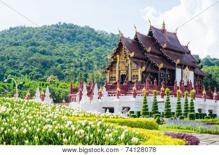 Ho kham luang in the international horticultural the northern thai style building in royal flora expoChiang mai Thailand poster