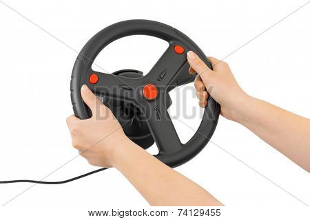 Computer steering wheel and hands isolated on white background