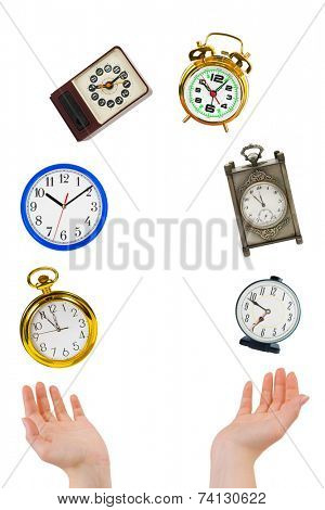 Juggling hands and clocks isolated on white background