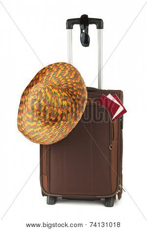 Travel case, hat and sunglasses isolated on white background