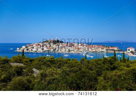 Town Primosten in Croatia - abstact travel background poster