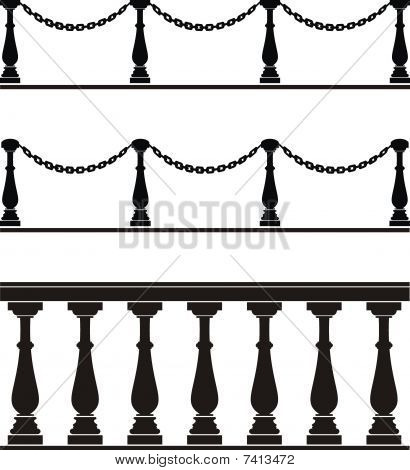 Architectural element - balustrade, fence with chain