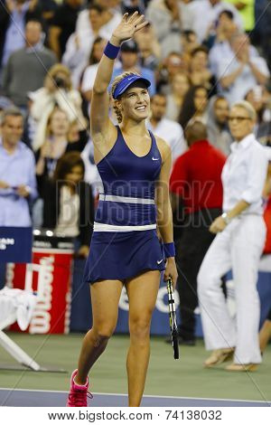 Professional tennis player Eugenie Bouchard celebrates victory after third round march at US Open